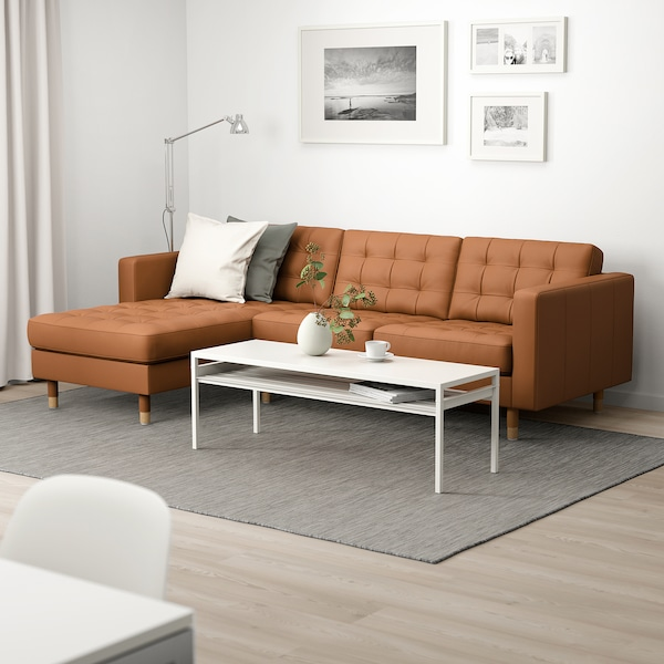 LANDSKRONA 3-seat sofa, with chaise longue/Grann/Bomstad golden-brown/metal
