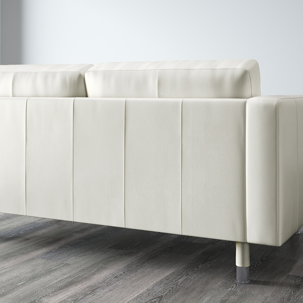 LANDSKRONA 3-seat sofa with chaise longue/Grann/Bomstad white/metal 242 cm 78 cm 89 cm 158 cm 64 cm 61 cm 128 cm 44 cm