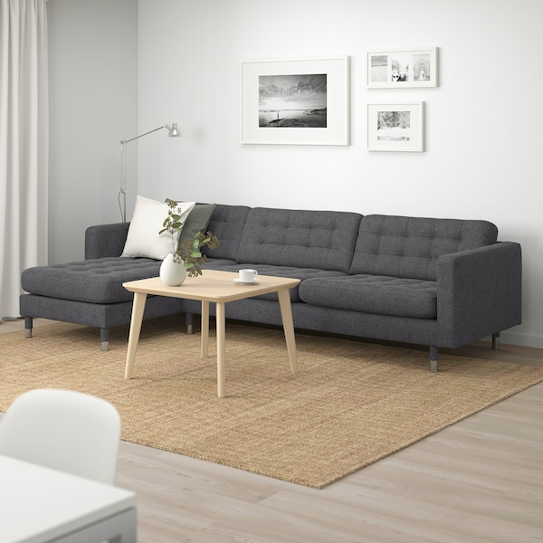 LANDSKRONA 4-seat sofa with chaise longue/Gunnared dark grey/metal 158 cm 282 cm 89 cm 78 cm 64 cm 180 cm 61 cm 44 cm