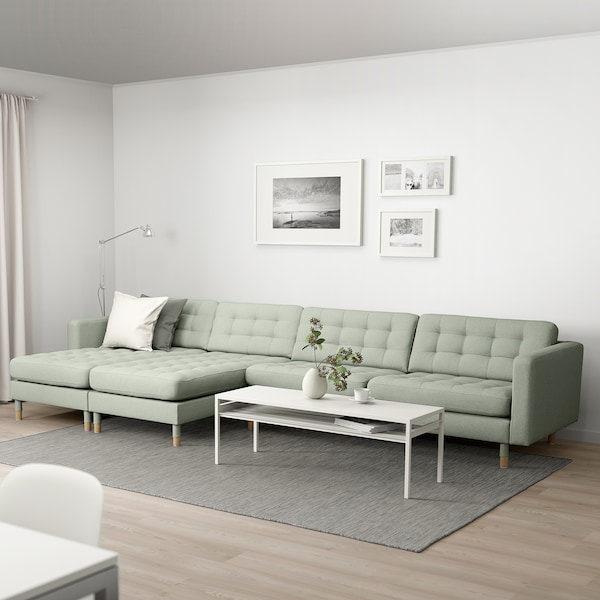 LANDSKRONA 5-seat sofa, with chaise longues/Gunnared light green/wood