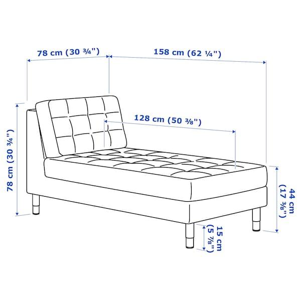 LANDSKRONA chaise longue, add-on unit Gunnared dark grey/metal 78 cm 158 cm 78 cm 128 cm 44 cm