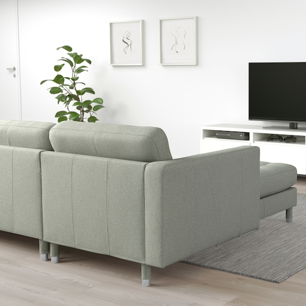 LANDSKRONA 5-seat sofa with chaise longues/Gunnared light green/metal 360 cm 78 cm 89 cm 158 cm 64 cm 61 cm 128 cm 44 cm