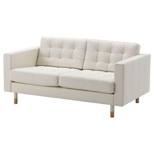 LANDSKRONA two-seat sofa Grann/Bomstad white/wood 164 cm 89 cm 78 cm 64 cm 61 cm 44 cm
