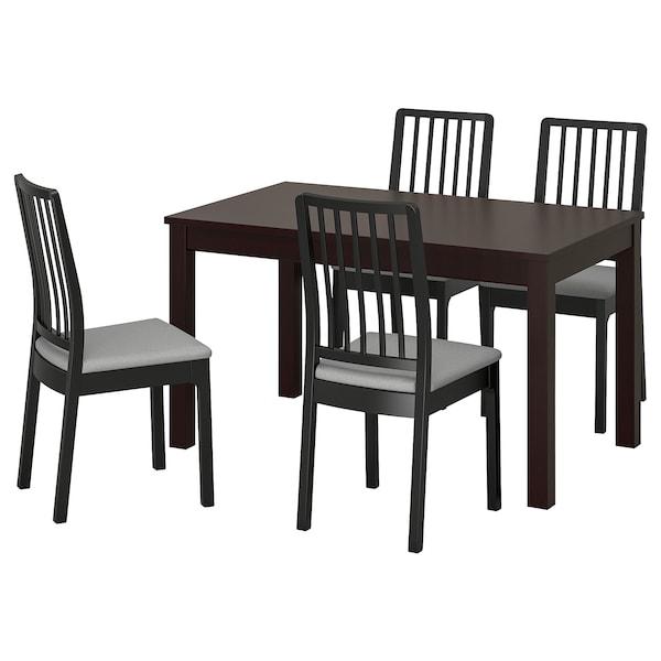 LANEBERG / EKEDALEN Table and 4 chairs, brown/black light grey, 130/190x80 cm