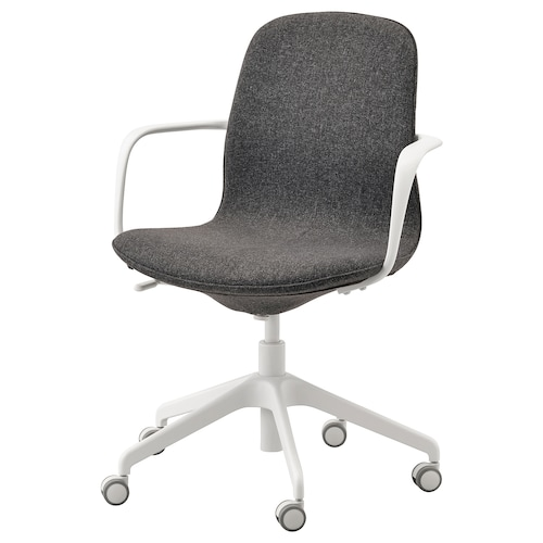 LÅNGFJÄLL office chair with armrests Gunnared dark grey/white 110 kg 68 cm 68 cm 92 cm 53 cm 41 cm 43 cm 53 cm
