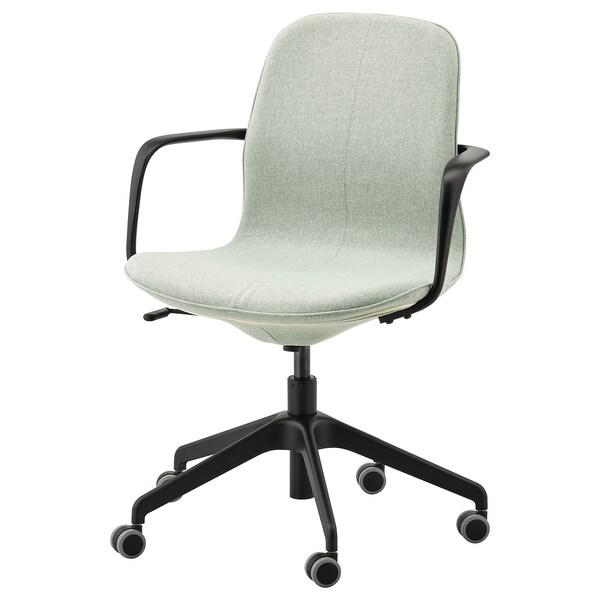 LÅNGFJÄLL Office chair with armrests, Gunnared light green/black
