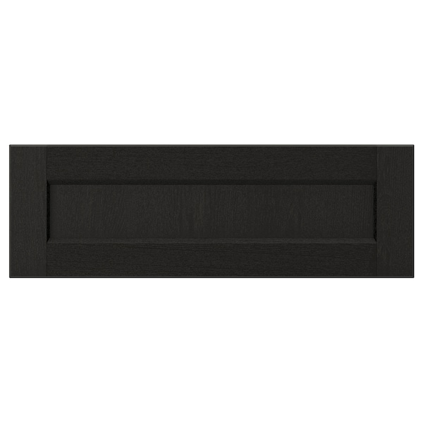 LERHYTTAN drawer front black stained 59.7 cm 20 cm 60 cm 19.7 cm 1.9 cm