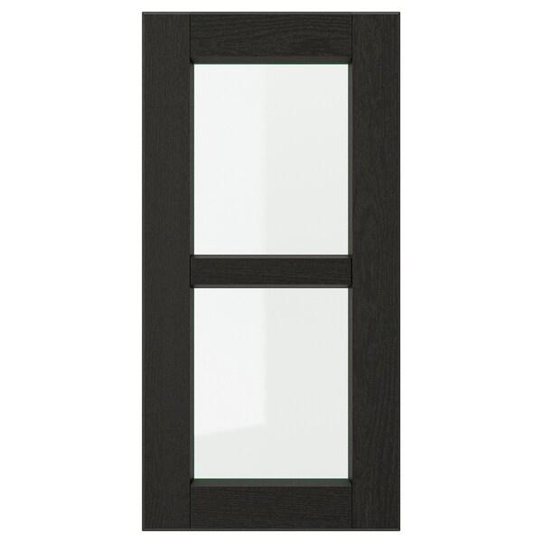 LERHYTTAN Glass door, black stained, 30x60 cm