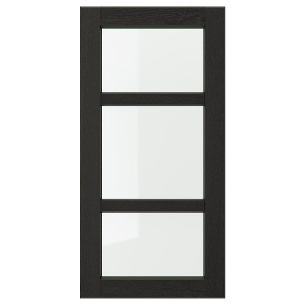 LERHYTTAN Glass door, black stained, 40x80 cm