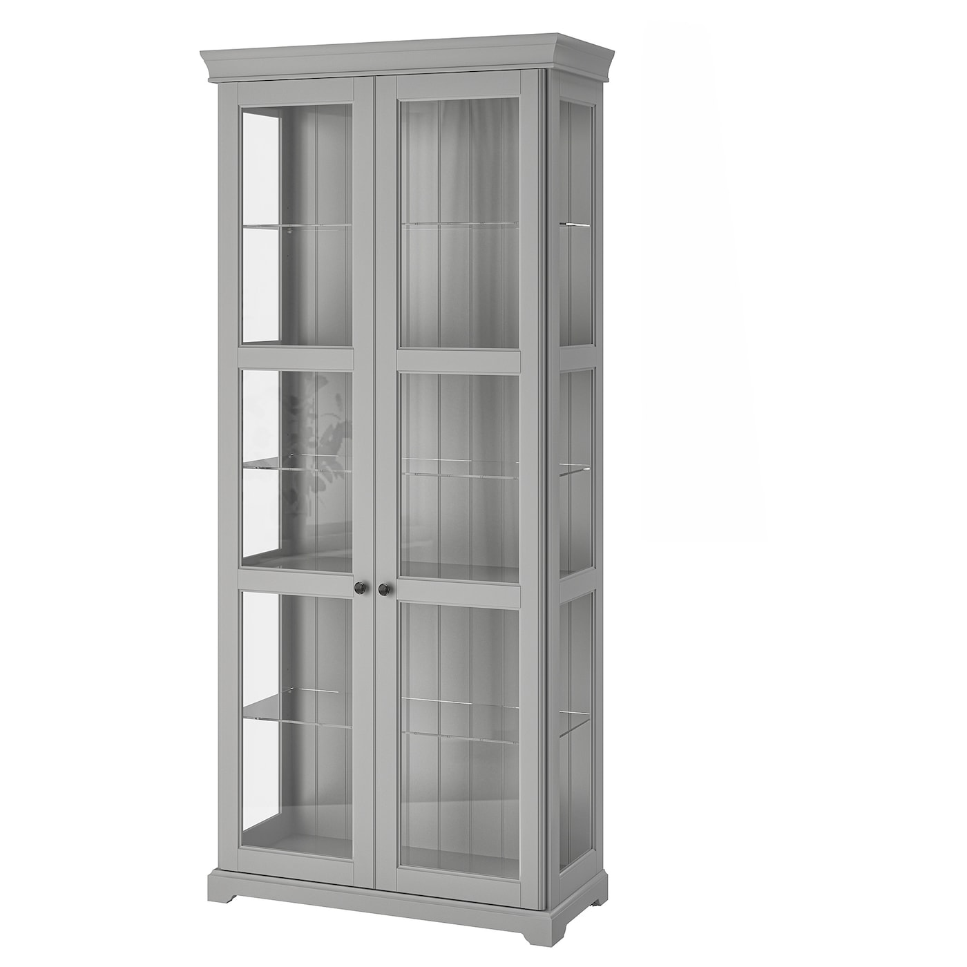 IKEA LIATORP glass-door cabinet 2 fixed shelves for high stability.