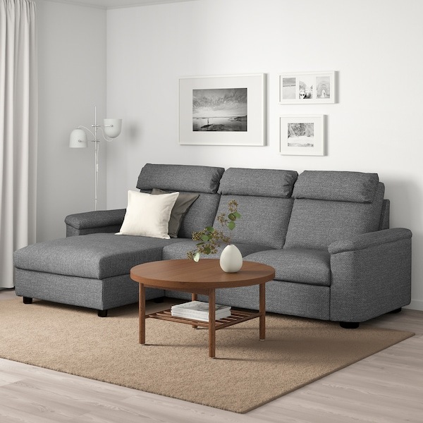 LIDHULT 3 seat sofa with chaise longueLejde greyblack IKEA