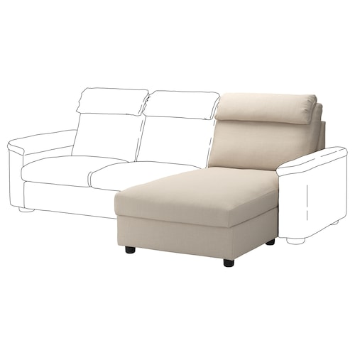 LIDHULT chaise longue section Gassebol light beige