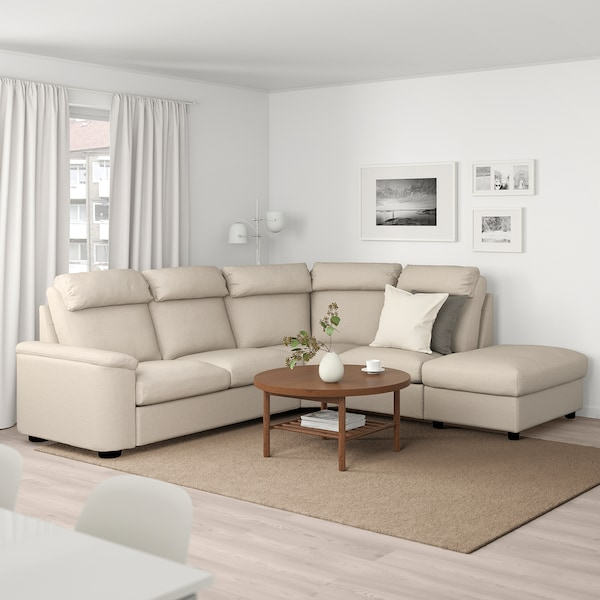 LIDHULT Corner sofa, 5-seat, with open end/Gassebol light beige