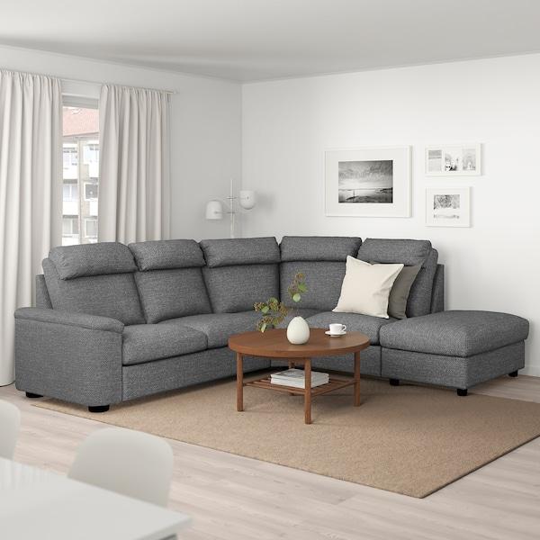 LIDHULT Corner sofa, 5 seat with open endLejde greyblack