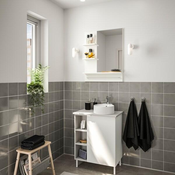 LILLÅNGEN/VISKAN / GUTVIKEN bathroom furniture, set of 8 white/grey Olskär tap 62 cm 40 cm 40 cm 89 cm