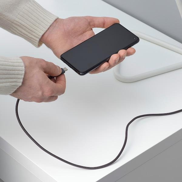 LILLHULT USB type A to USB type C cord, dark grey, 1.5 m