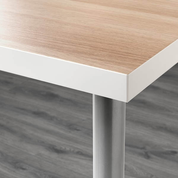 LINNMON / ADILS Table, white white stained oak effect/silver-colour, 120x60 cm