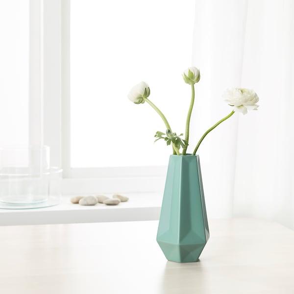 LIVSLÅNG Vase, green, 20 cm