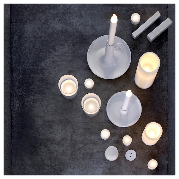 LJUSANDE LED candle, battery-operated/natural, 20 cm