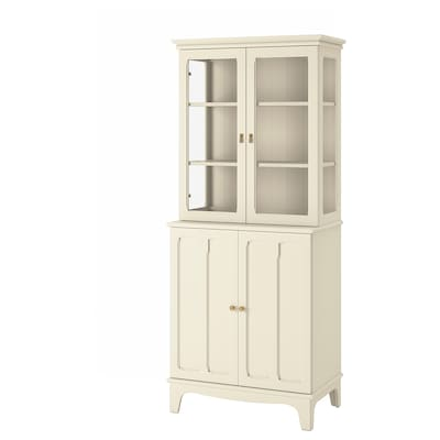 LOMMARP Cabinet with glass doors, light beige, 86x199 cm