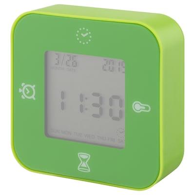 LÖTTORP Clock/thermometer/alarm/timer, green