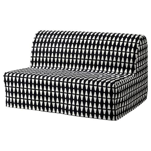 LYCKSELE LÖVÅS two-seat sofa-bed Ebbarp black/white 142 cm 100 cm 87 cm 60 cm 39 cm 140 cm 188 cm 188 cm 140 cm 10 cm