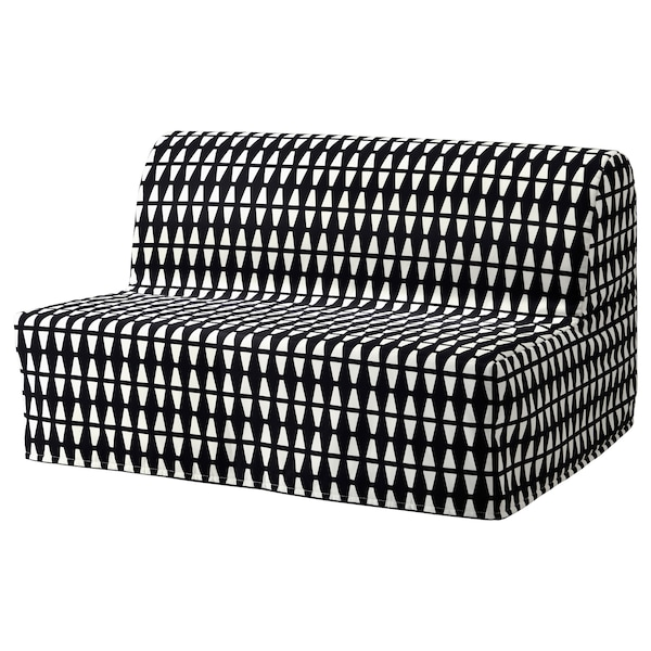 LYCKSELE Two-seat sofa-bed cover, Ebbarp black/white