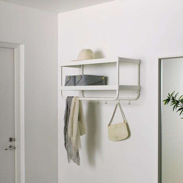 MACKAPÄR Hat and coat rack, white, 78 cm