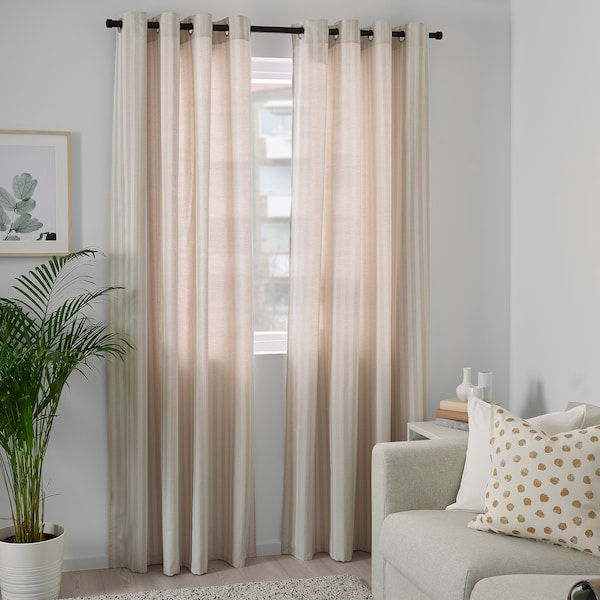 MAJRID Curtains, 1 pair, beige, 145x300 cm