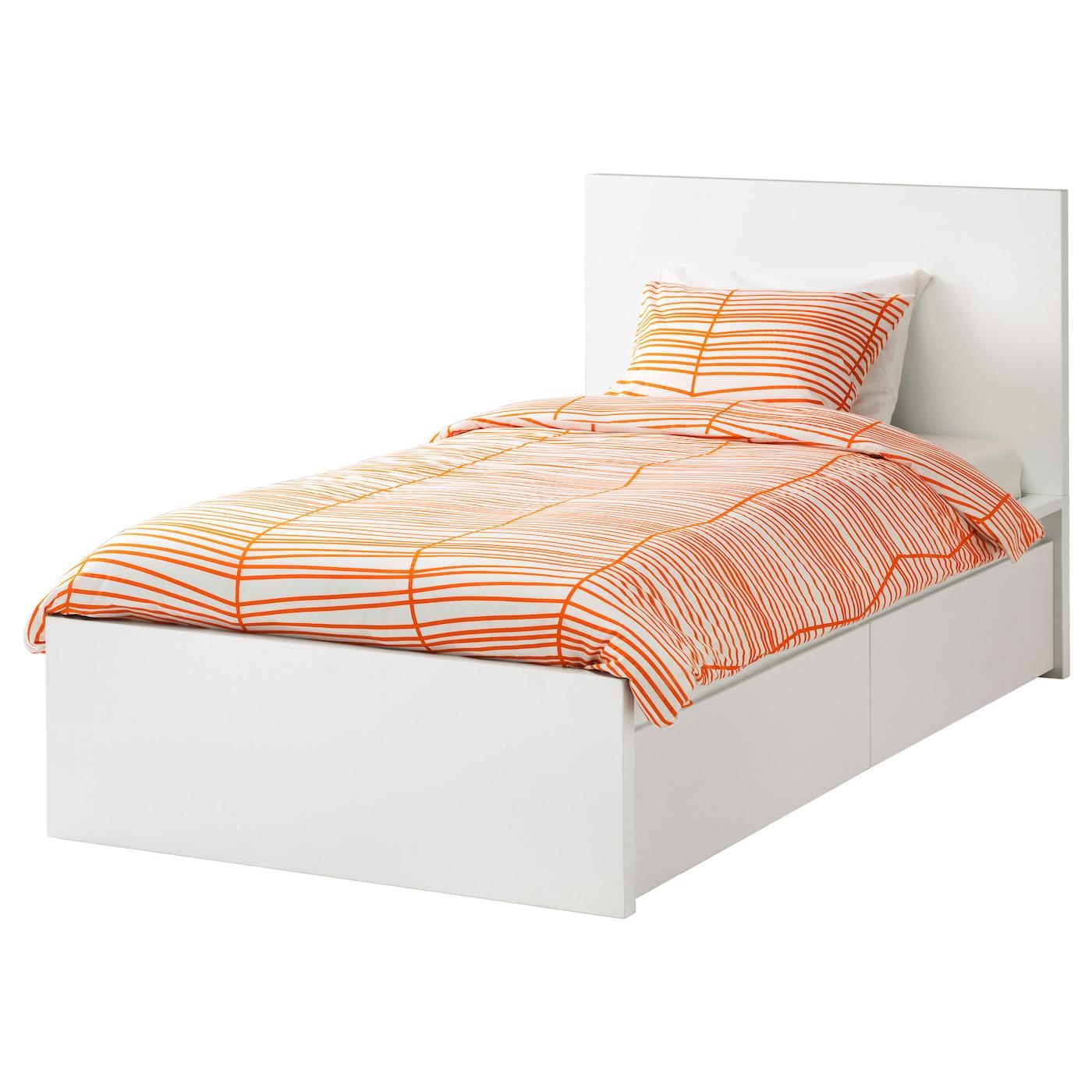 MALM Bed frame, high, w 2 storage boxes White/luröy 90 x 200 cm - IKEA