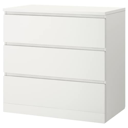 MALM chest of 3 drawers white 80 cm 48 cm 78 cm 72 cm 43 cm