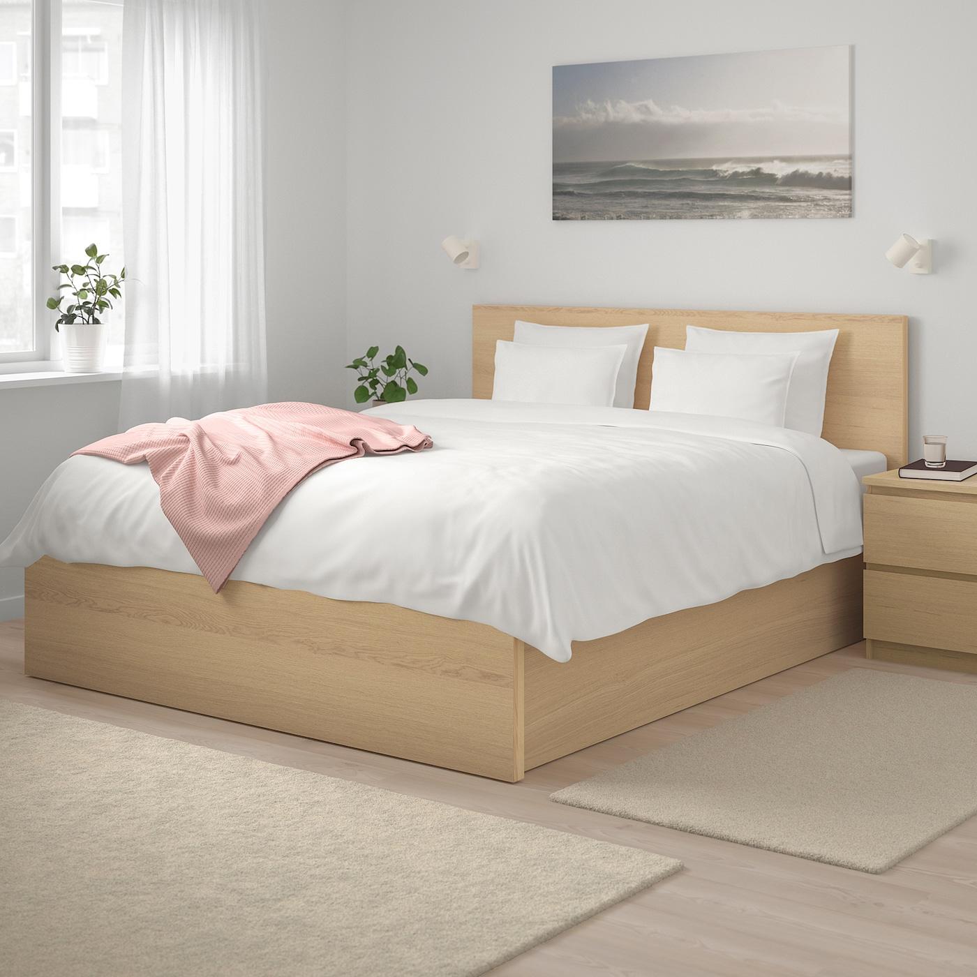 Malm Ottoman Bed White Stained Oak Veneer 160x200 Cm Ikea