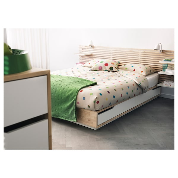 MANDAL Bed frame with headboard, birch/white, 140x202 cm