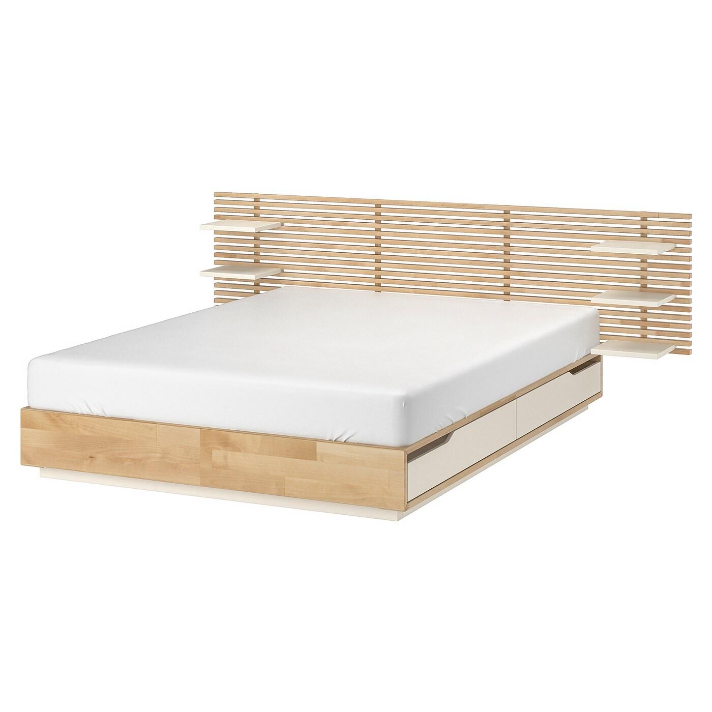 Mandal Bed Frame With Headboard Birch White Ikea