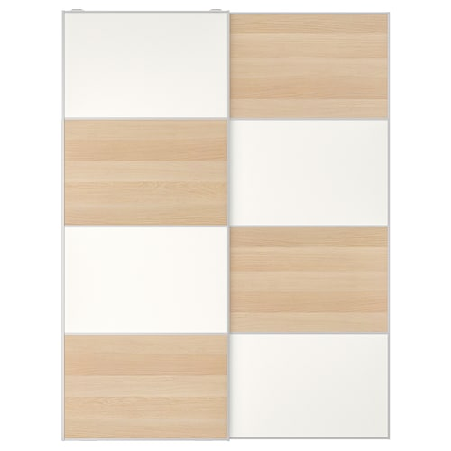 MEHAMN pair of sliding doors white stained oak effect/white 150 cm 201 cm