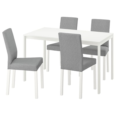 MELLTORP / KÄTTIL Table and 4 chairs, white/Knisa light grey, 125 cm