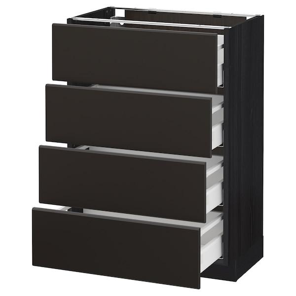 METOD Base cab 4 frnts/4 drawers, black/Kungsbacka anthracite, 60x37 cm