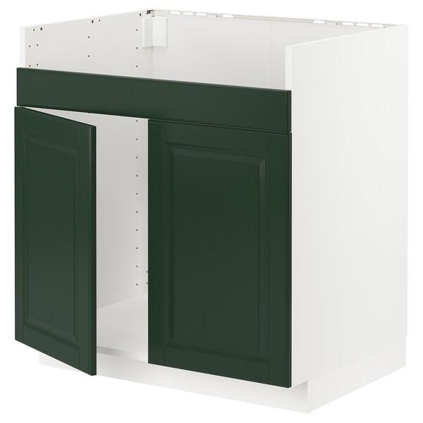 METOD base cab f HAVSEN double bowl sink white/Bodbyn dark green 80.0 cm 61.9 cm 88.0 cm 60.0 cm 80.0 cm