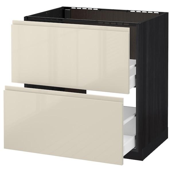 METOD base cab f sink+2 fronts/2 drawers black/Voxtorp high-gloss light beige 80.0 cm 62.1 cm 88.0 cm 60.0 cm 80.0 cm