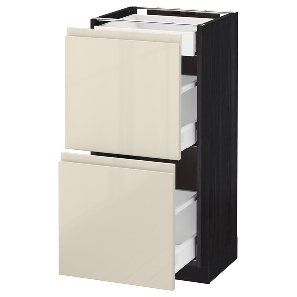 METOD base cab with 2 fronts/3 drawers black/Voxtorp high-gloss light beige 40.0 cm 39.1 cm 88.0 cm 37.0 cm 80.0 cm