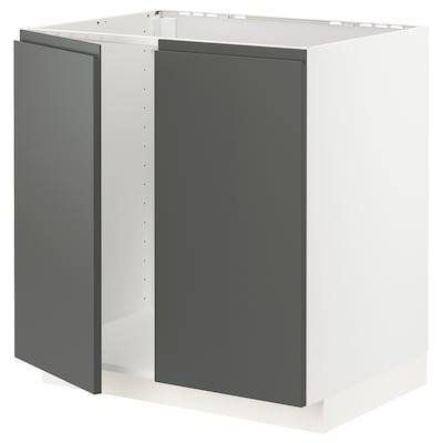 METOD Base cabinet for sink + 2 doors, white/Voxtorp dark grey, 80x60 cm