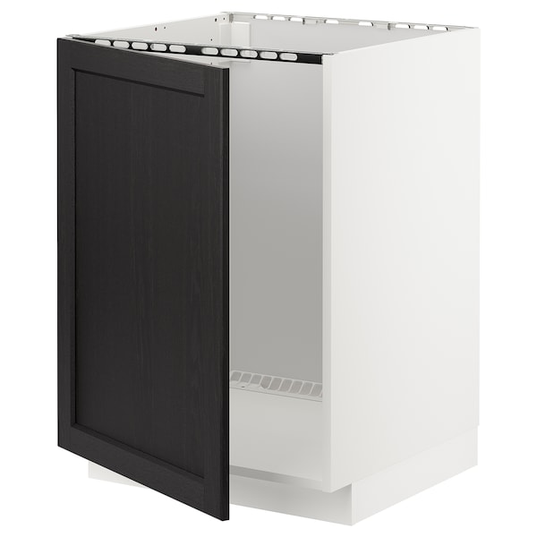 METOD Base cabinet for sink, white/Lerhyttan black stained, 60x60 cm