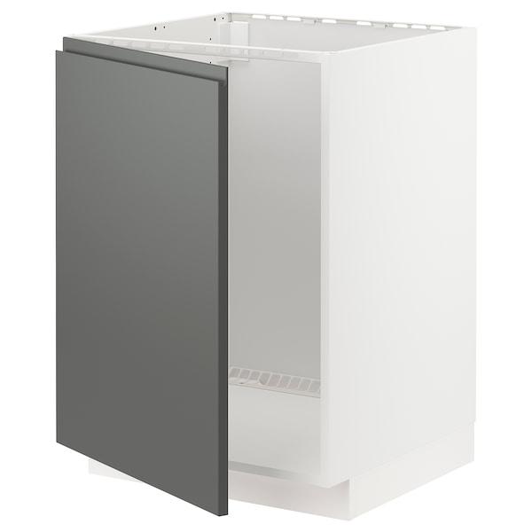 METOD Base cabinet for sink, white/Voxtorp dark grey, 60x60 cm