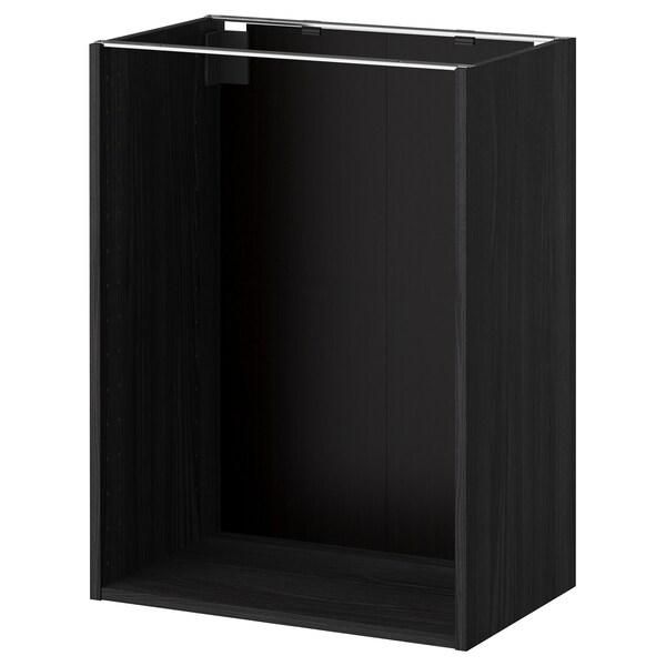 METOD Base cabinet frame, wood effect black, 60x37x80 cm