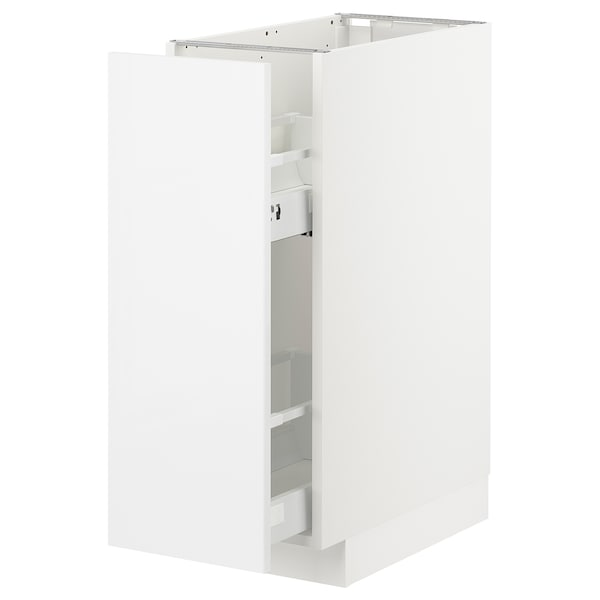 METOD Base cabinet/pull-out int fittings, white Ringhult/high-gloss white, 30x60 cm