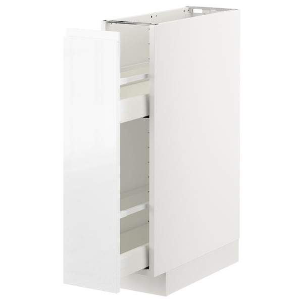 METOD Base cabinet/pull-out int fittings, white/Voxtorp high-gloss/white, 20x60 cm