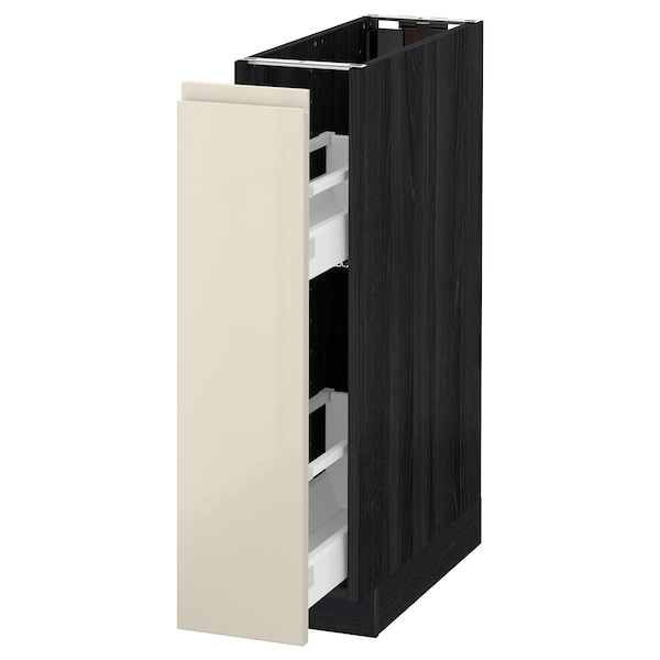 METOD base cabinet/pull-out int fittings black/Voxtorp high-gloss light beige 20.0 cm 62.1 cm 88.0 cm 60.0 cm 80.0 cm