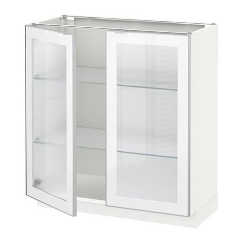 Metod Base Cabinet With 2 Glass Doors Whitejutis Frosted Glass 80 X