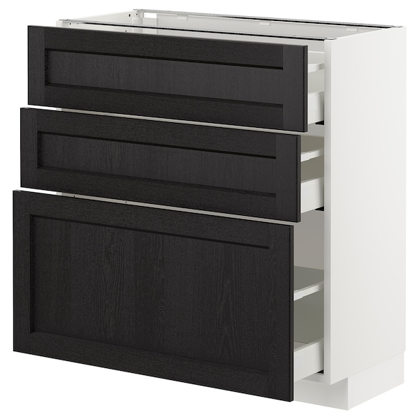 METOD Base cabinet with 3 drawers, white/Lerhyttan black stained, 80x37 cm