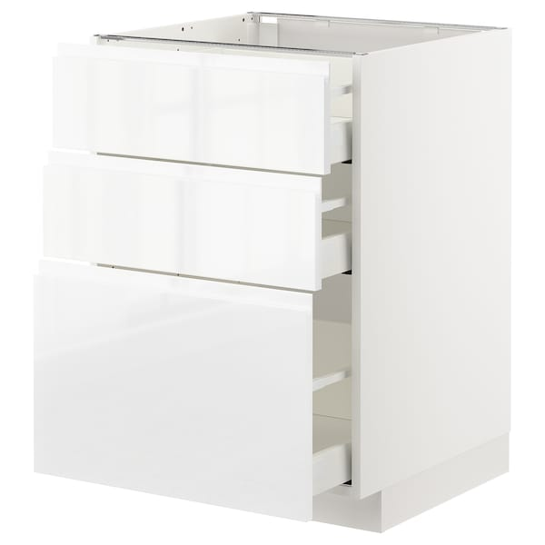 METOD Base cabinet with 3 drawers, white/Voxtorp high-gloss/white, 60x60 cm